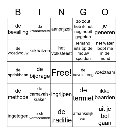 woordenschat thema 3 Bingo Card