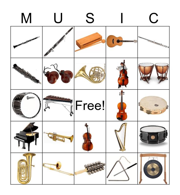 Musical Instruments Bingo Card