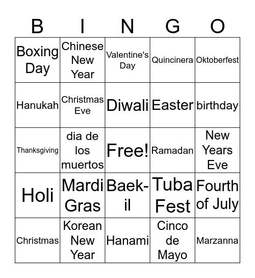 Holiday Traditions Bingo Card