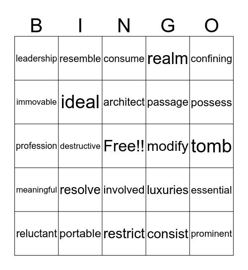 Vocabulary Bingo! Bingo Card