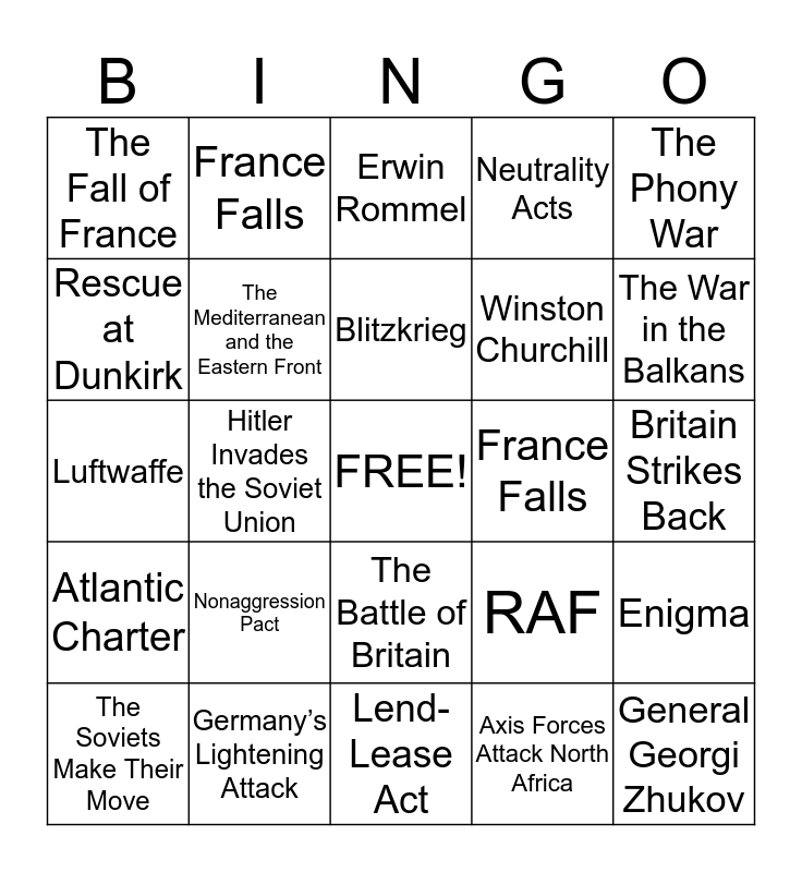 WWII Begins Bingo Card
