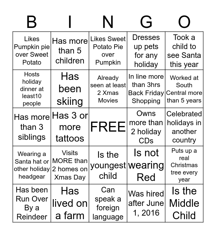 Holiday Staff Bingo Card