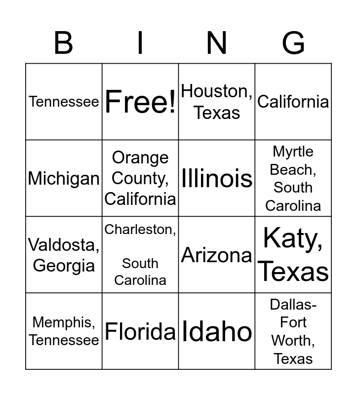 Connections! Bingo Card