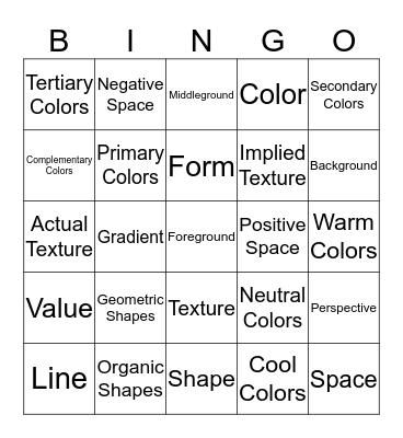 The Elements of Art Bingo Card