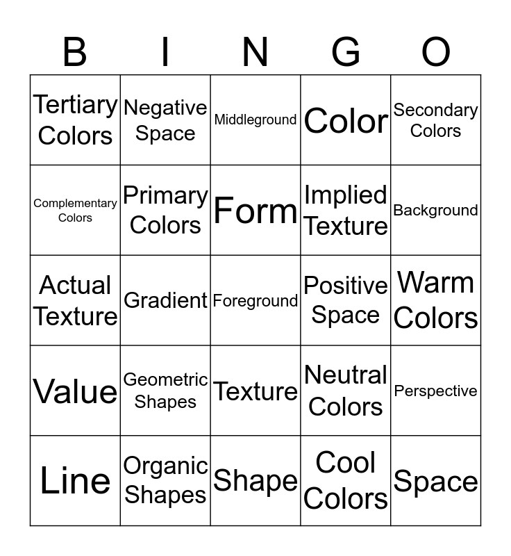 The Elements of Art Bingo Card