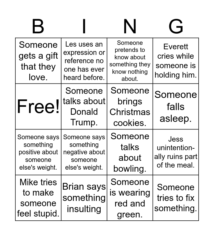 Weible Christmas Bingo Card