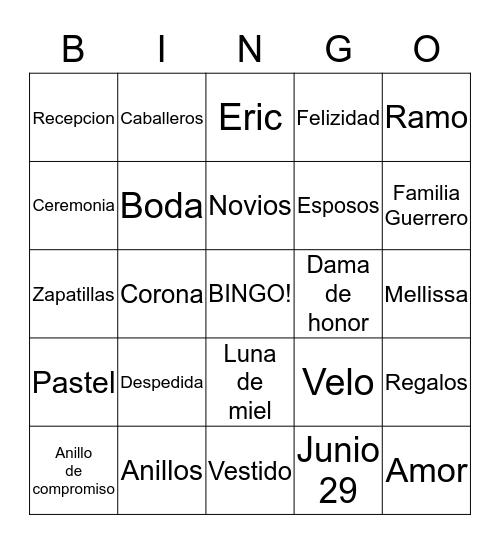 Despedida de Mellisa Bingo Card