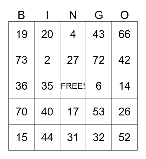 FAMILY DAY Bingo Card