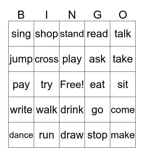 Action Verbs Bingo Card