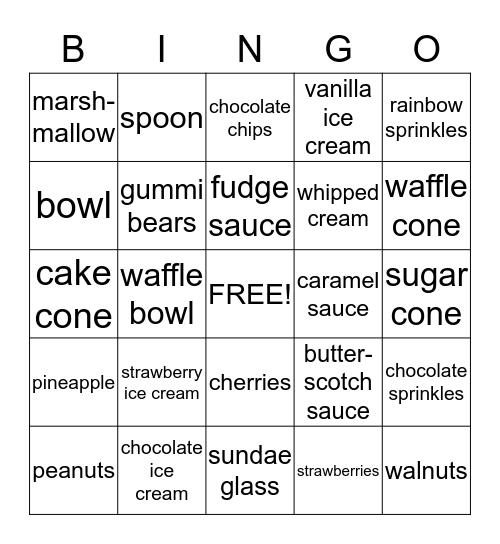 Ice Cream Sundaes! Bingo Card