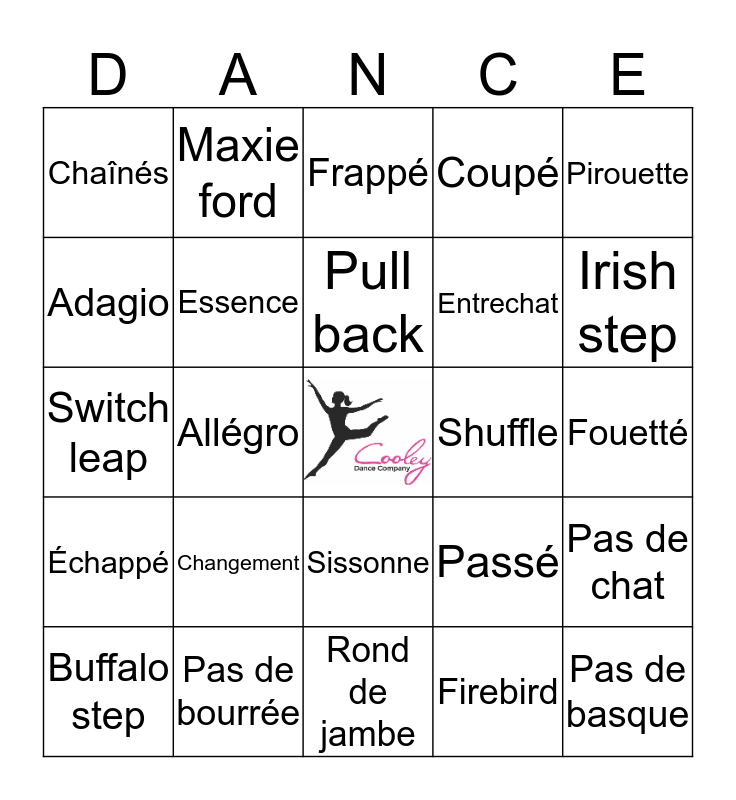 Cooley Dance Company Bingo! Bingo Card