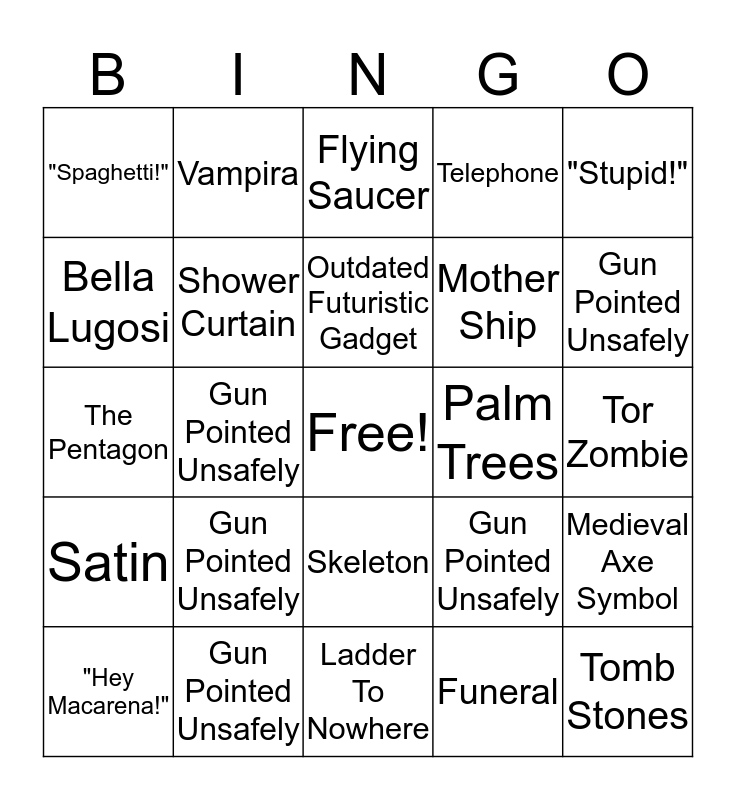 Plan 9 From Outer Space Bingo Card