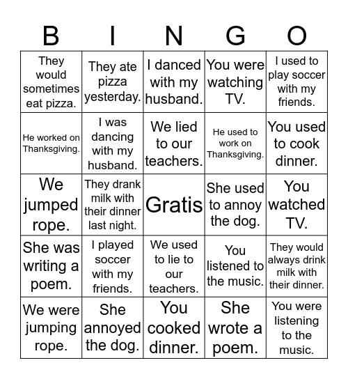 Preterite vs. Imperfect Bingo Card