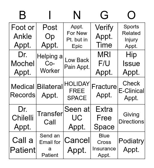 HOLIDAY FUN Bingo Card