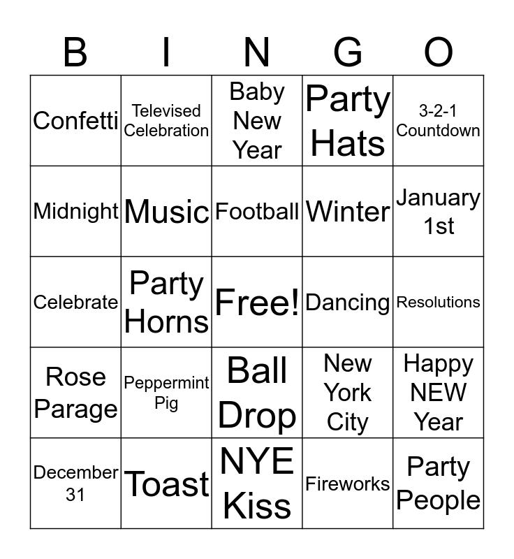 New Year's Bingo Card