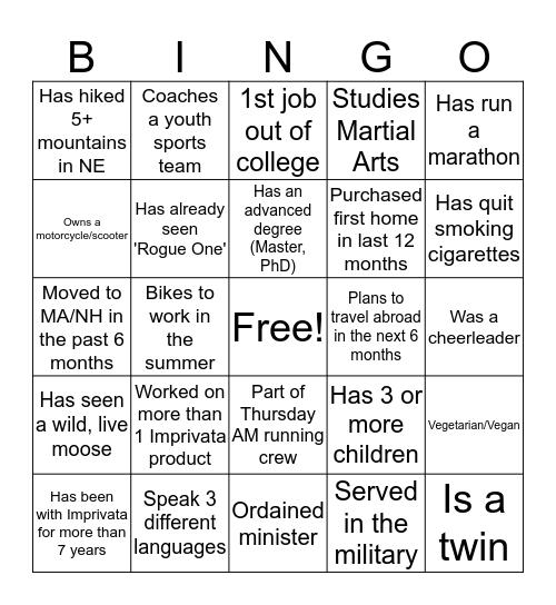 1st Floor Bingo Card