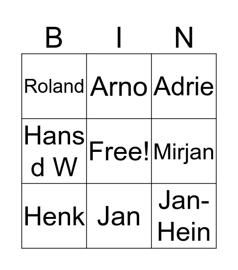 Schuurmans Bingo Card