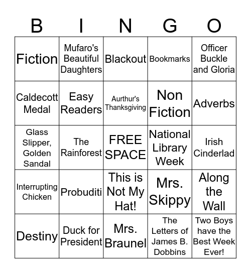 2nd Grade Library Bingo Card