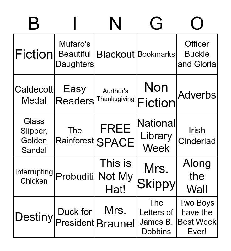2nd Grade Library Bingo Card