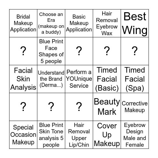 SKIN CARE Bingo Card