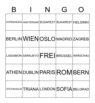 EUROPEAN CAPITAL CITIES Bingo Card