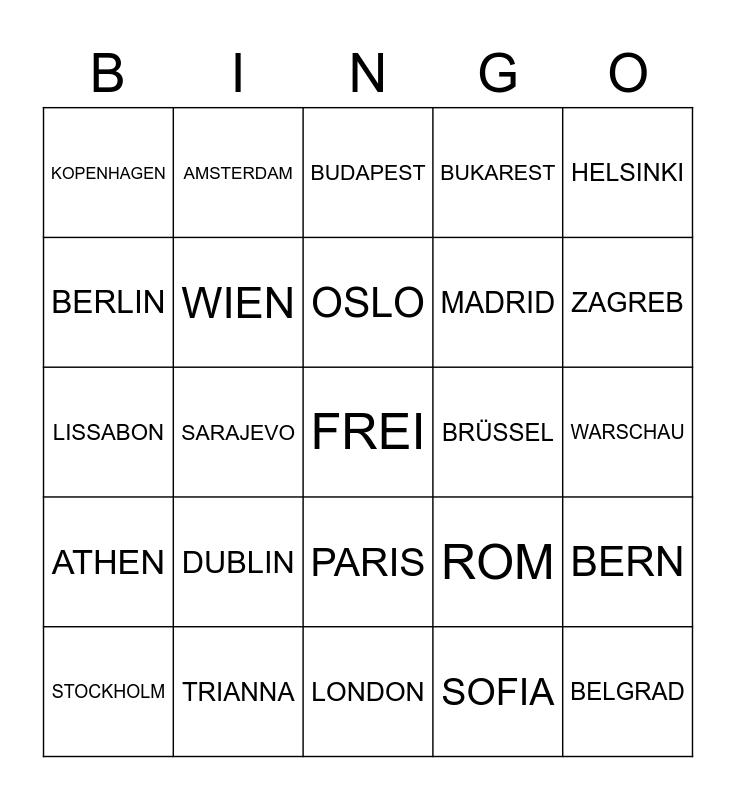 EUROPEAN CAPITAL CITIES Bingo Card