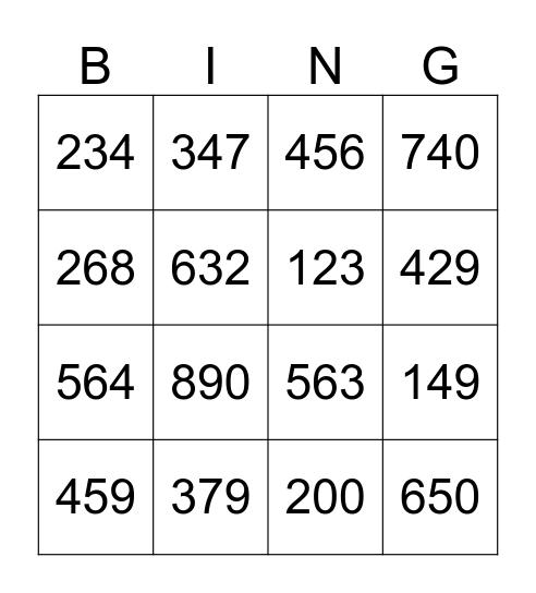 Place Value Bingo Card