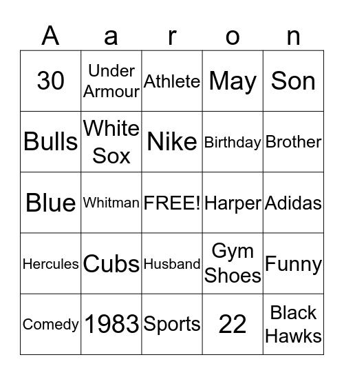 Happy Birthday Aaron! Bingo Card