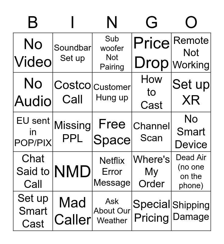 Lane's Bingo Card