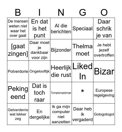 De Sigi Kerst Bingokaart Bingo Card