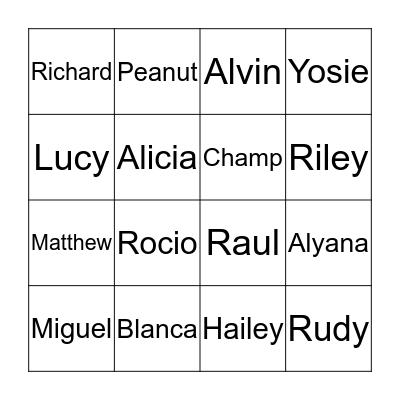 Family Loteria Bingo Card