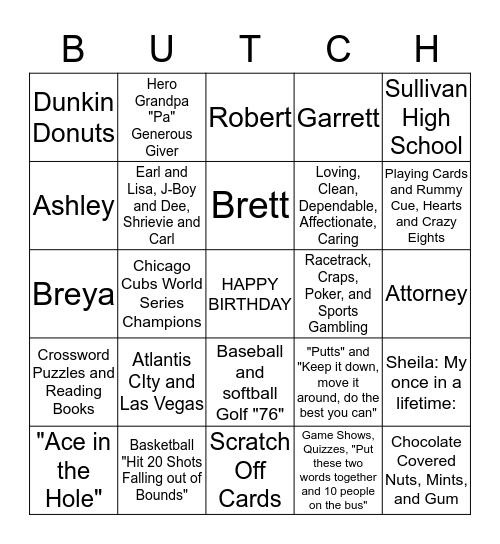 BUTCH Bingo Card