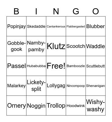 Funny Words Bingo Card